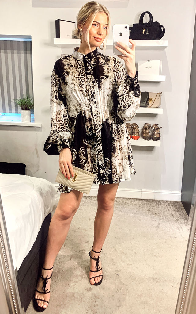 Black and White Scarf print Shirt Mini dress by CY Boutique