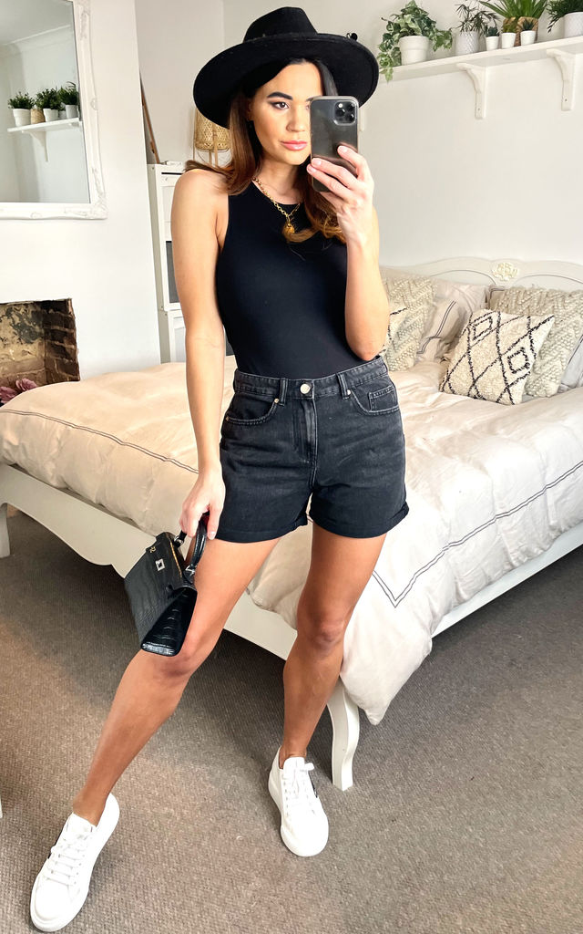 Denim Shorts in Black by ONLY