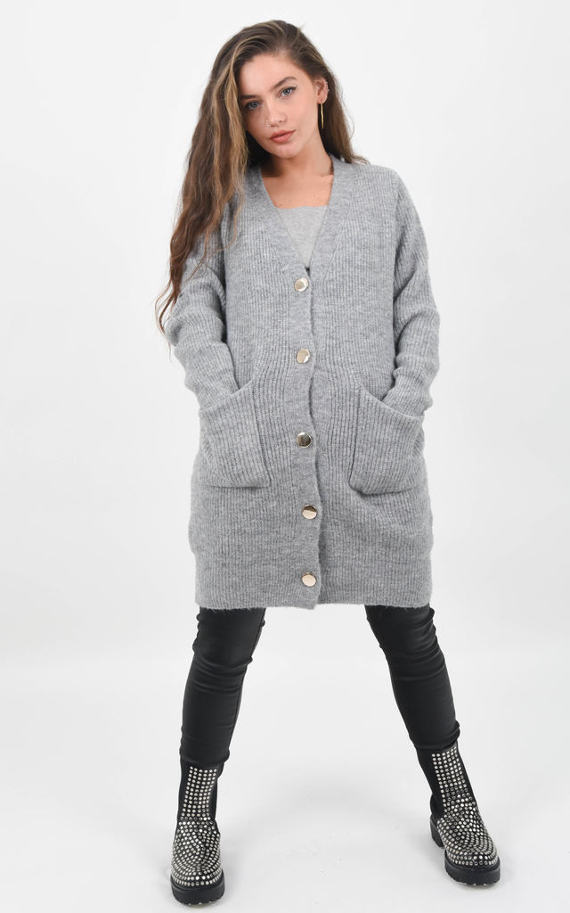 Grey Knitted Oversized Button Up Cardigan by Boutique Store