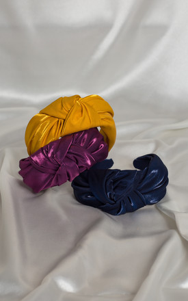 Plum Purple Luxury Satin BAE Knotted Headband by Farrow Low