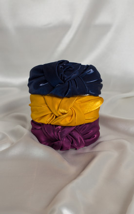 Navy Blue Luxury Satin BAE Knotted Headband by Farrow Low