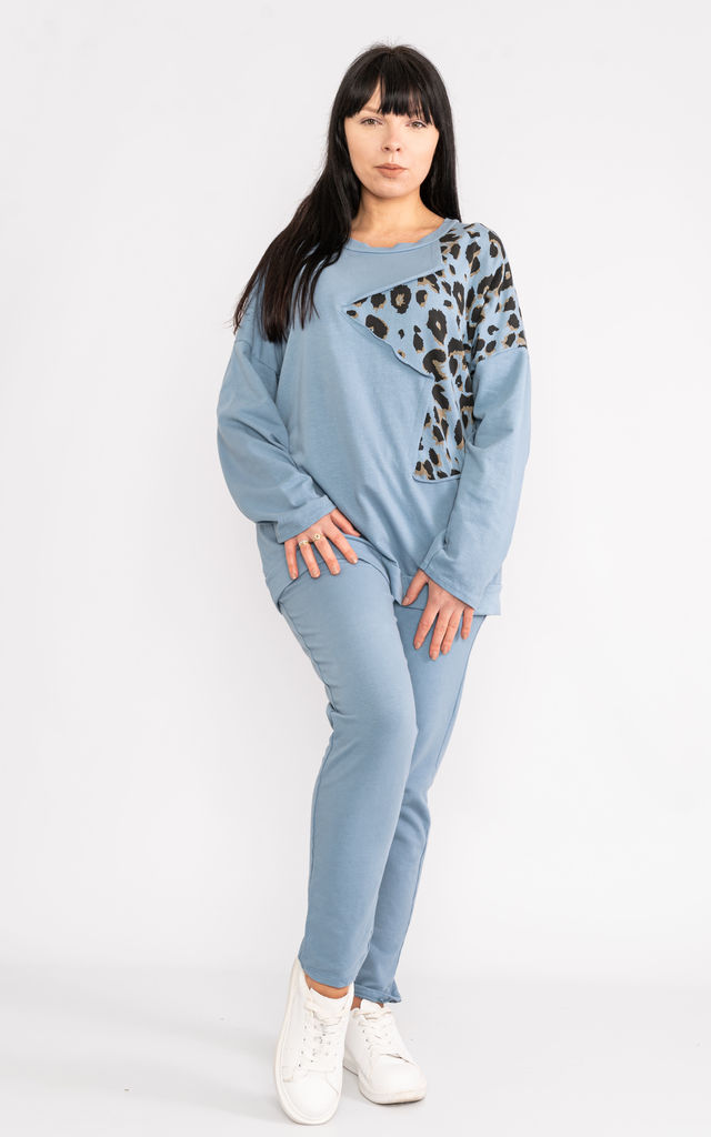 Blue long sleeve loungewear set with animal print shoulder by Lucy Sparks