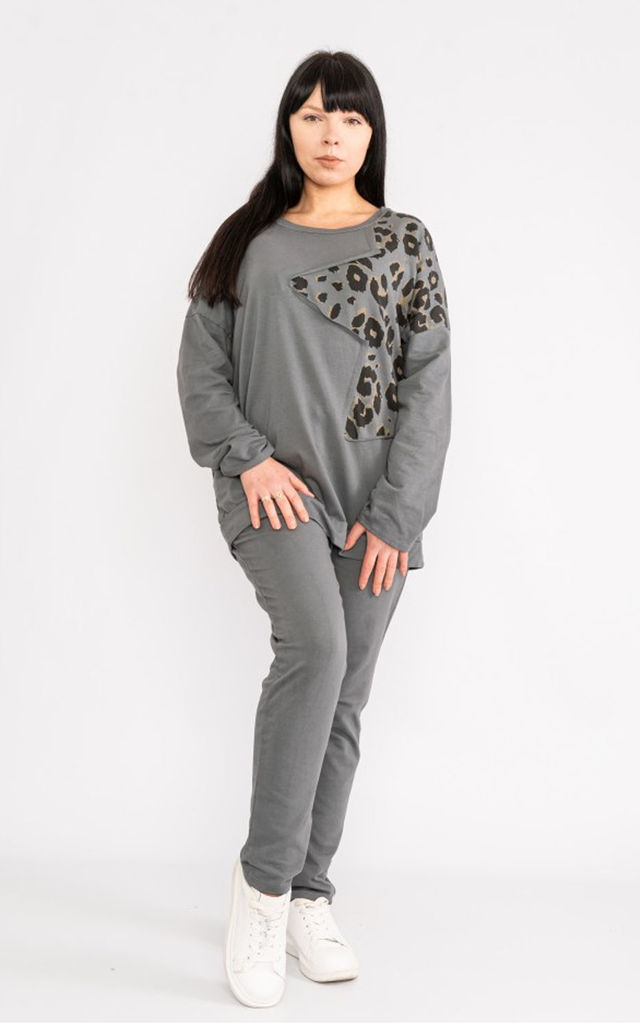 Animal Print Star tracksuit oversized sweat / oversized jogger in Charcoal Grey by LOES House