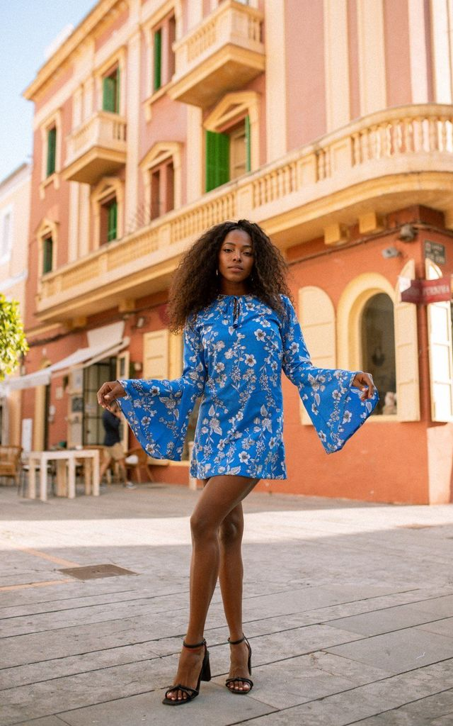 Aleta Bell Sleeve Dress - Azul by Out of the Ordinary