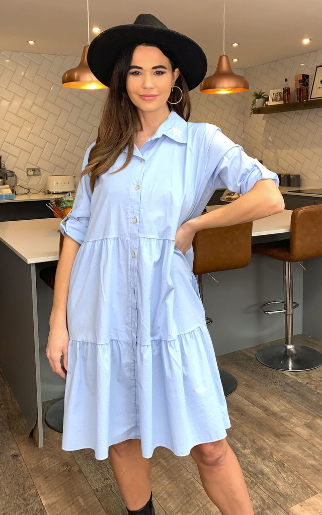 Rita Star Collar Tiered Dress In Blue by Blue Vanilla