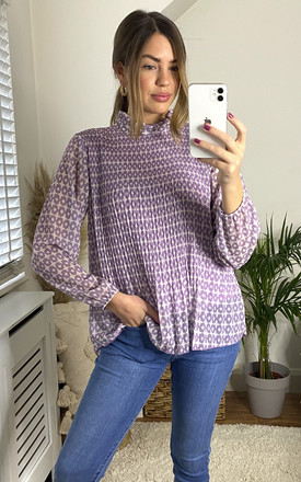 High Neck Top In Lilac Retro Print by KURT MULLER