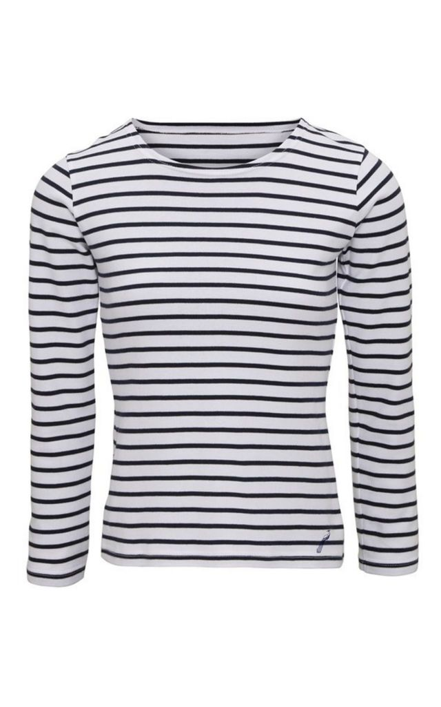 Breton Striped Long Sleeve Top - White by Hortons England