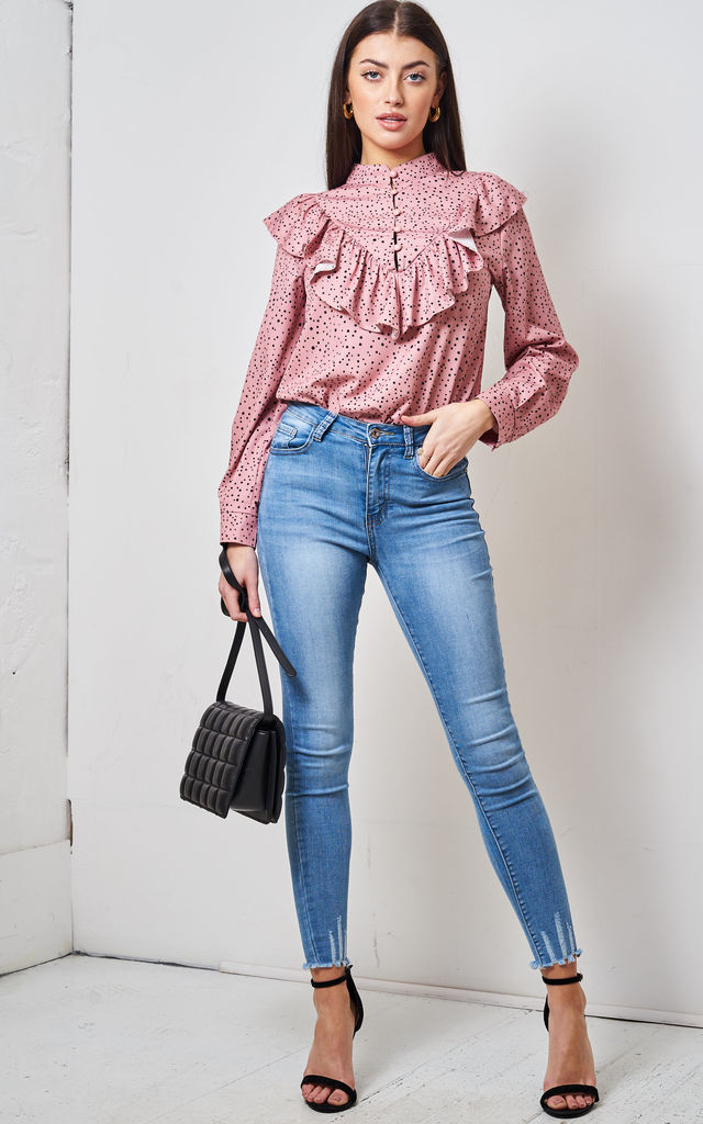 Pink Polka Dot Ruffle Blouse by love frontrow