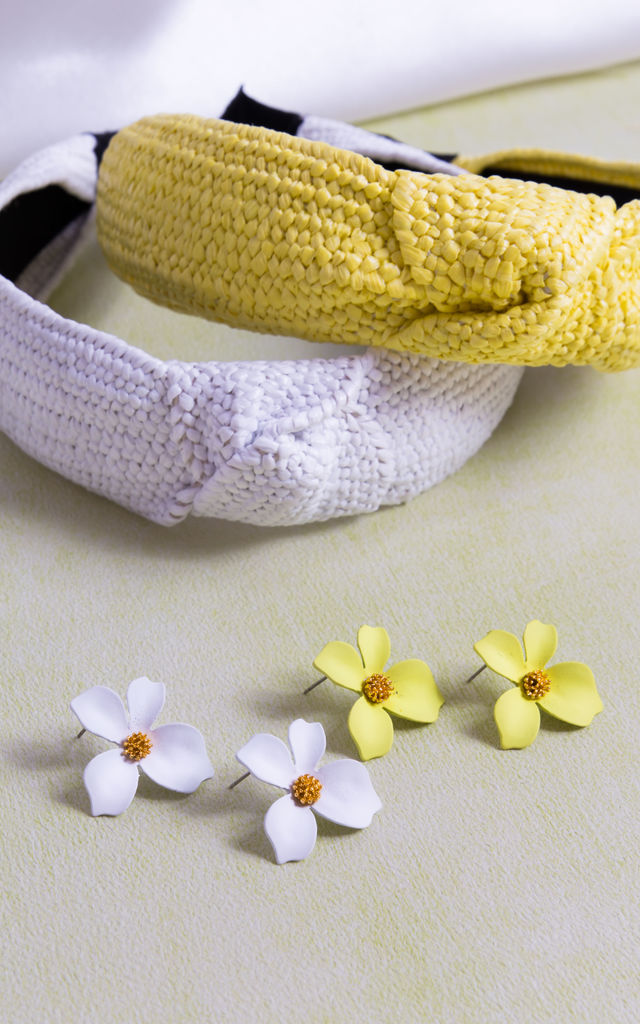 Daisy Headband And Earring Set In Yellow by Farrow Low