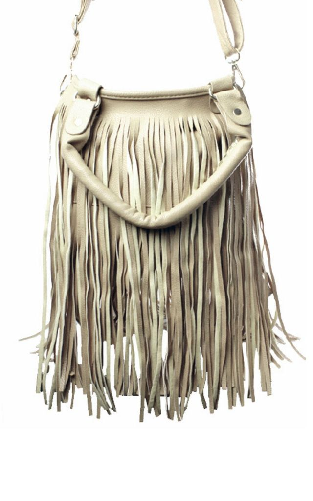 Cream PU Fringe Bucket Bag by Gregory