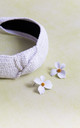 Daisy Headband And Earring Set In White by Farrow Low