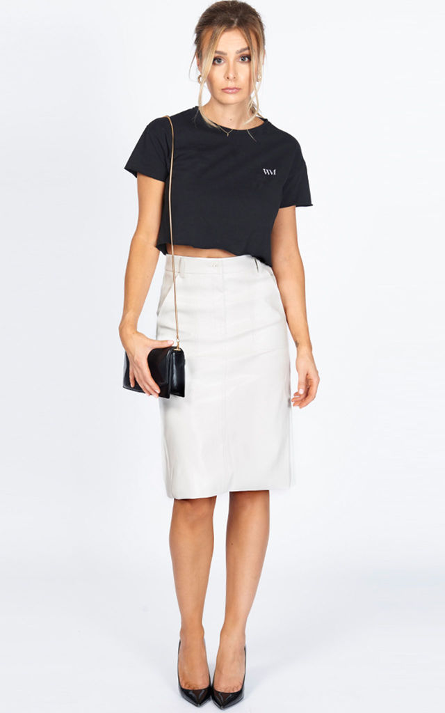 The Madison Vegan Leather Pencil Skirt in white by Worth A Million