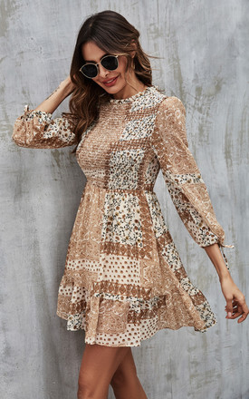 Elasticated Detail Mini Dress In Beige Paisley Print by FS Collection Product photo