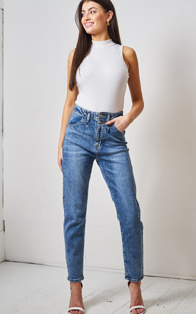 Mom High Waist Tapered Blue Jeans by love frontrow