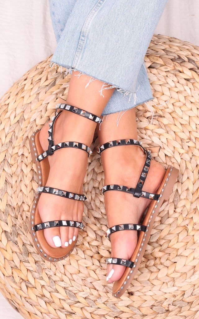 Lulu Black Faux Leather Studded Gladiator Sandal by Linzi