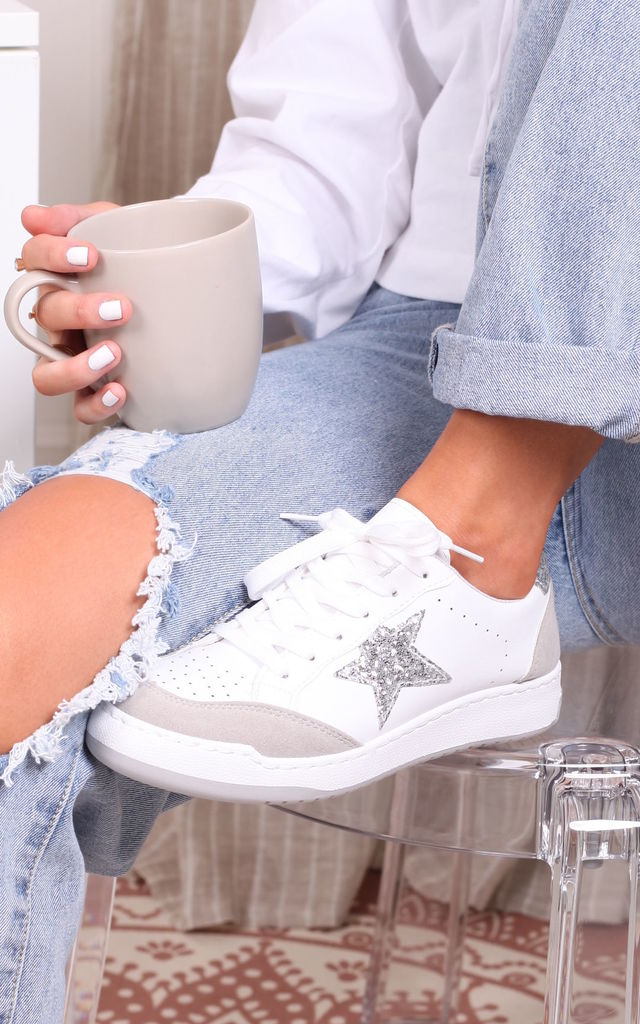Maiden White Lace Up Trainer With Silver Glitter Star Design by Linzi