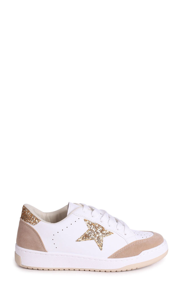 Dixie White Lace Up Trainer With Gold Glitter Star Design by Linzi