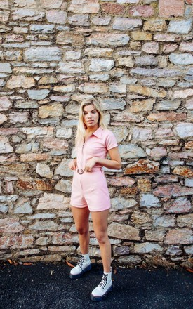 Samara Suede Playsuit - Baby Pink by Out of the Ordinary