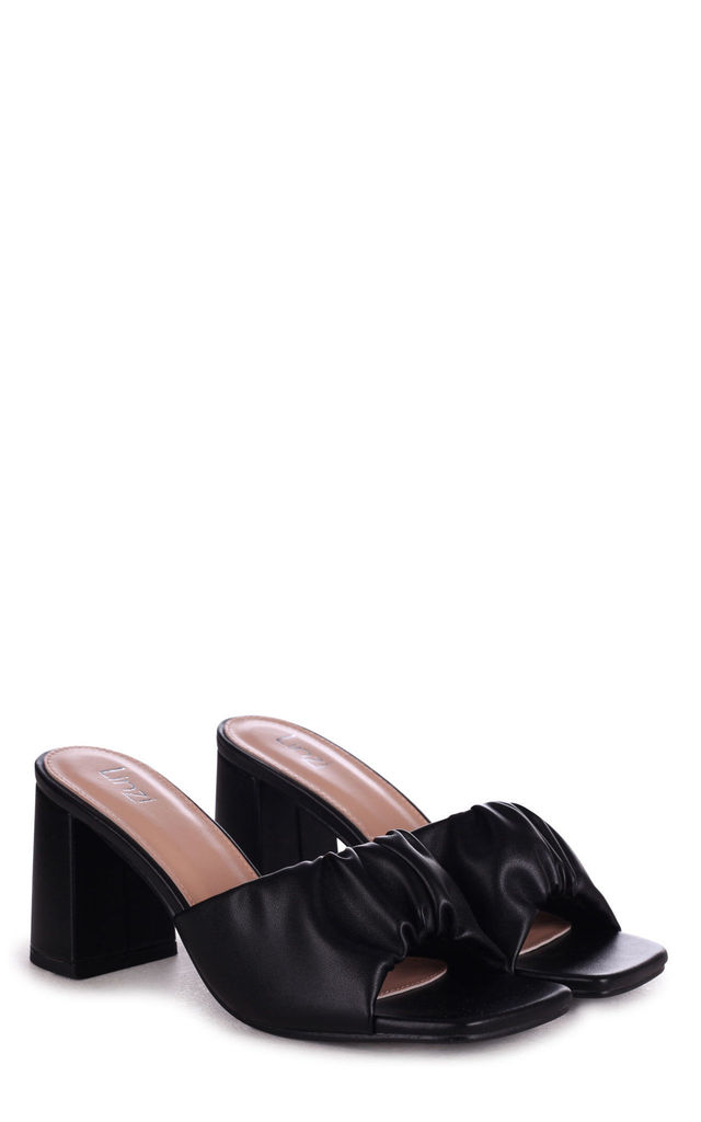 Kaya Black Faux Leather Ruched Block Heel Mule by Linzi