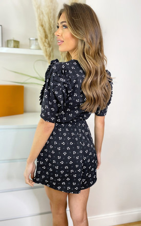 Black Ditsy Floral Pleat Sleeve Playsuit by AX Paris