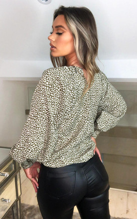 Olive Printed Balloon Sleeve Top by AX Paris
