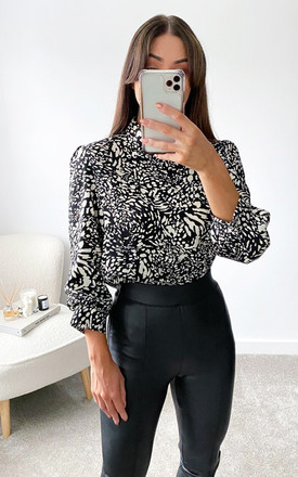 Black Printed Wide Sleeve Cuff Top by AX Paris