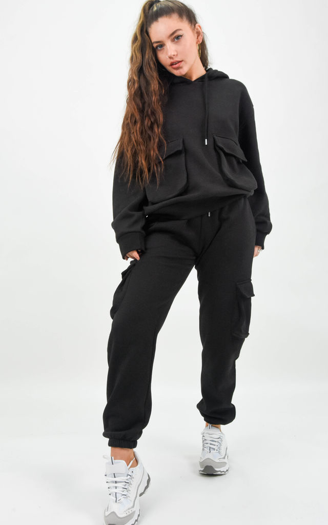 Black Pocket Detail Sweat Hoodie & Cargo Joggers Co-ord by Boutique Store