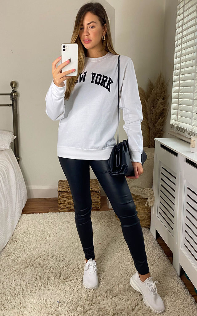 New York Slogan Oversized Sweatshirt In White by Aftershock London