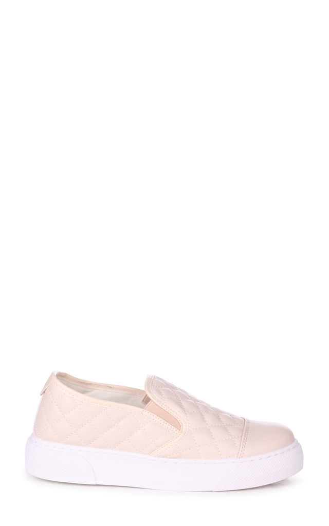 Neve Beige Faux Leather Quilted Slip on Trainer by Linzi