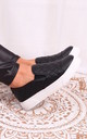 Neve Black Faux Leather Quilted Slip on Trainer by Linzi