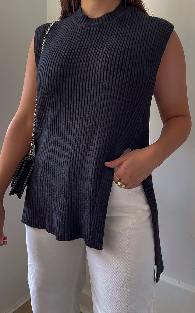 The Blair Knit Vest Black by Silks and Stars