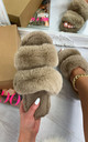 Dielle Double Strap Fluffy Slippers in Mink by Larena Fashion