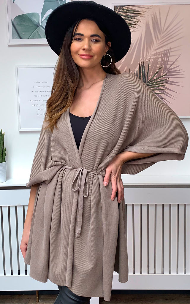 RIB TIE WAIST WRAP CARDIGAN IN STONE by Malissa J Collection