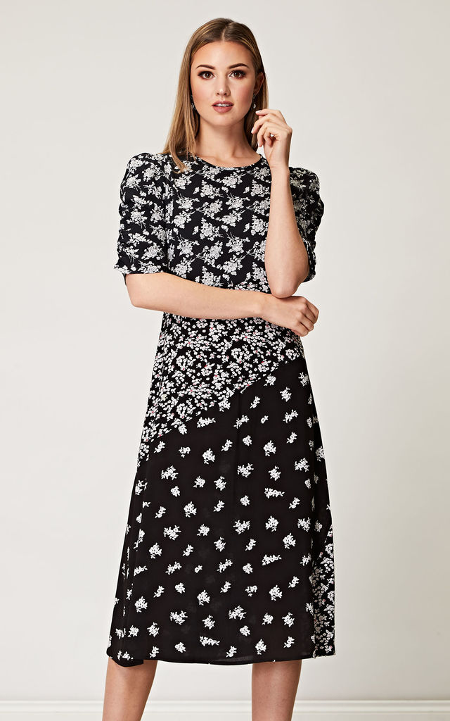 Contrast Floral Midi Dress in Black and White by ANGELEYE