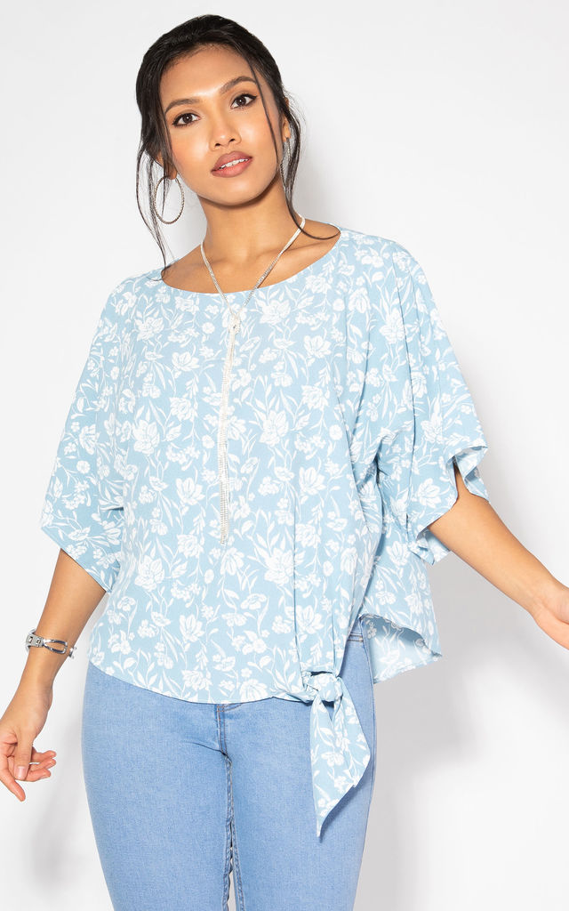 Tie Side Floral Batwing Blue Top by KRISP