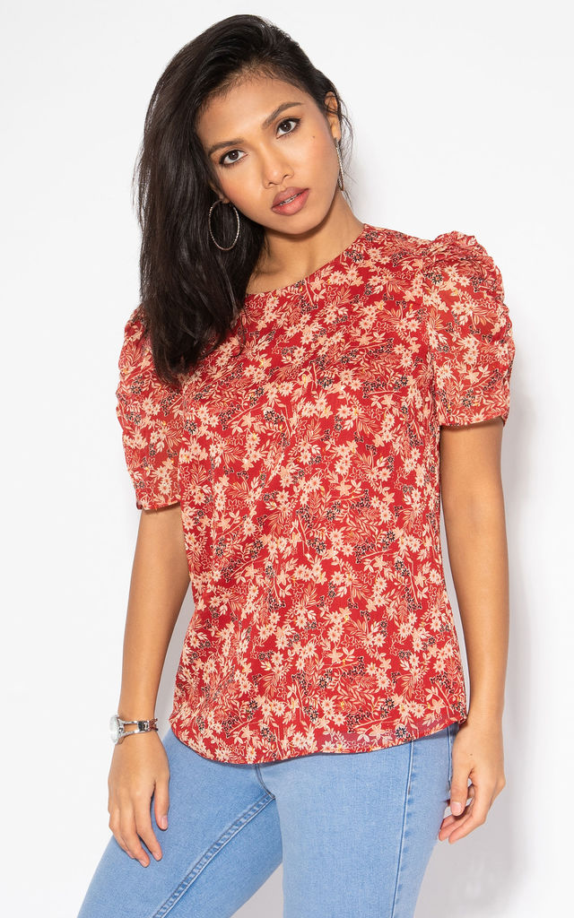 Ruched Sleeve Floral Red Chiffon Blouse by KRISP