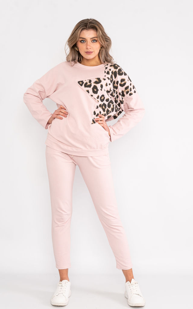 Pink long sleeve loungewear set with animal print shoulder. by Lucy Sparks