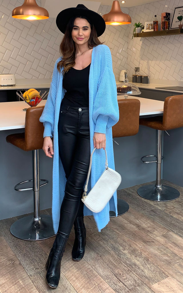 Mariella Edge To Edge Long Knit Cardigan In Blue by Blue Vanilla