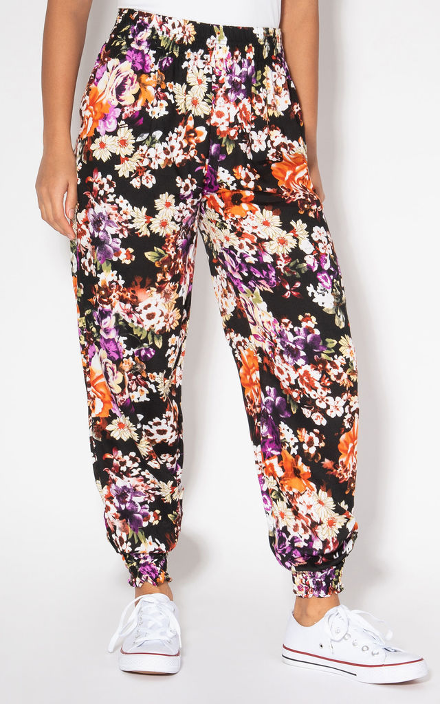 Daisy Print Cuffed Black Harem Trousers by KRISP