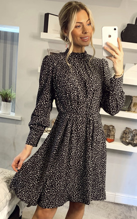 Black Leopard Printed Long Sleeve Skater Dress by LOVE SUNSHINE Product photo