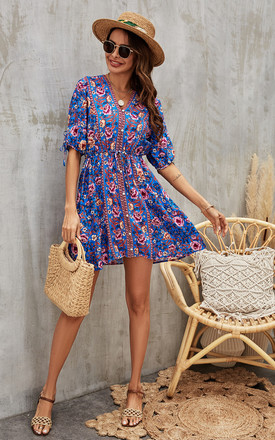 Purple Pink Peach Floral Printed Skater Dress In Blue by FS Collection Product photo