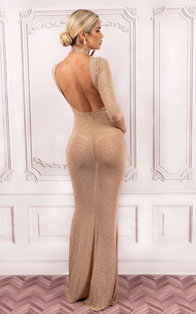 Annie Turtleneck  Embellished Open Back Crop Sleeve Maxi Dress by HOUSE OF MAGUIE