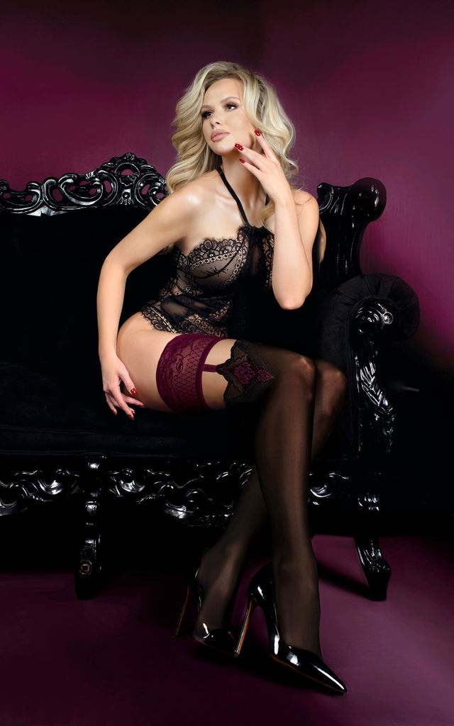 Black Lace Top Hold Up Stockings by BB Lingerie