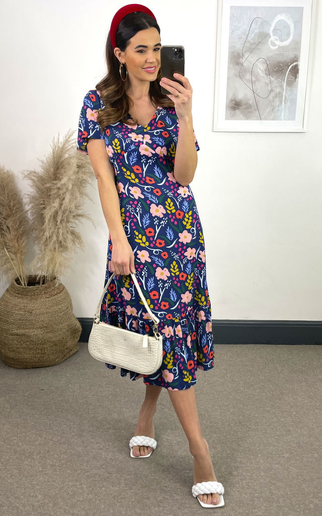 Alessandra Blue Painted Floral Short Sleeve Midi Dress by SUGARHILL BRIGHTON