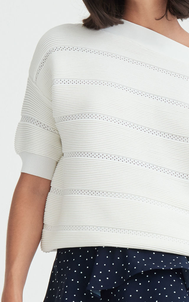 Paisie One Shoulder Ribbed Jumper with Crochet Detail in White by Paisie