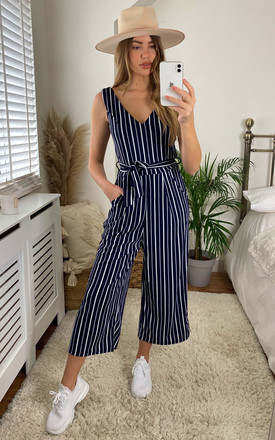 Navy Stripe Culotte Jumpsuit by APRICOT Product photo
