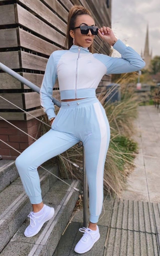 Pretty Active White and Blue Tracksuit by Instapretty