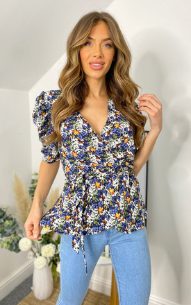 Multi Floral Printed Wrap Blouse by AX Paris Product photo