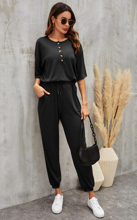 Button Down Loose Jumpsuit With Short Sleeve In Black by FS Collection Product photo