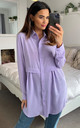 Oversized Long Sleeve Relaxed Fit Shirt in Lilac by HOXTON GAL